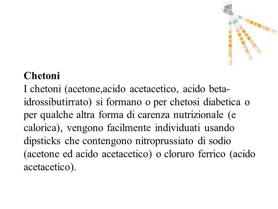 Chetoni I chetoni (acetone,acido acetacetico, acido beta- idrossibutirrato) si formano o per chetosi diabetica o per qualche altra forma di carenza nu