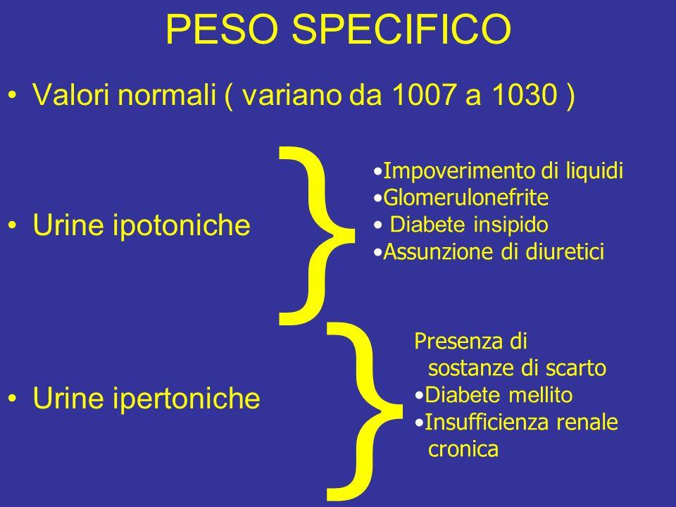 PESO SPECIFICO Valori normali ( variano da 1007 a 1030 ) Urine ipotoniche Urine ipertoniche } Impoverimento di liquidi Glomerulonefrite Diabete insipi