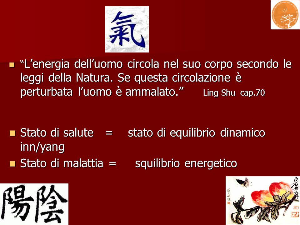 Lenergia delluomo circola nel suo corpo secondo le leggi della Natura. Se questa circolazione è perturbata luomo è ammalato. Ling Shu cap.70 Lenergia