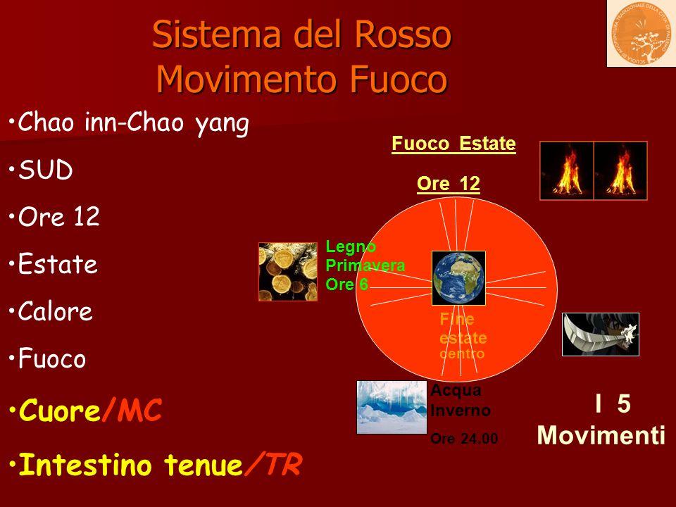 Sistema del Rosso Movimento Fuoco Fuoco Estate Ore 12 Terra Fine estate centro Metallo Autunno Ore 18.00 Acqua Inverno Ore 24.00 Chao inn-Chao yang SU