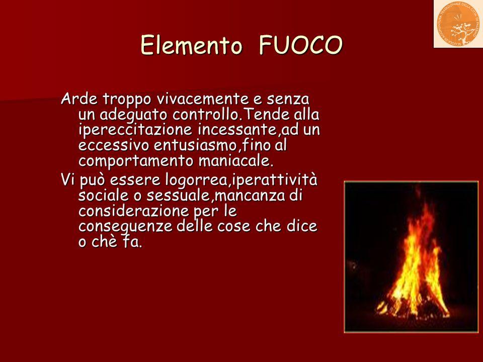 Elemento FUOCO Arde troppo vivacemente e senza un adeguato controllo.Tende alla ipereccitazione incessante,ad un eccessivo entusiasmo,fino al comporta