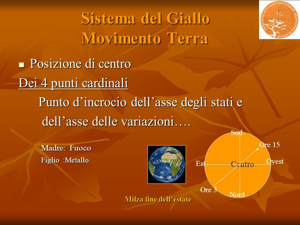 Sistema del Giallo Movimento Terra Sistema del Giallo Movimento Terra Posizione di centro Posizione di centro Dei 4 punti cardinali Punto dincrocio de