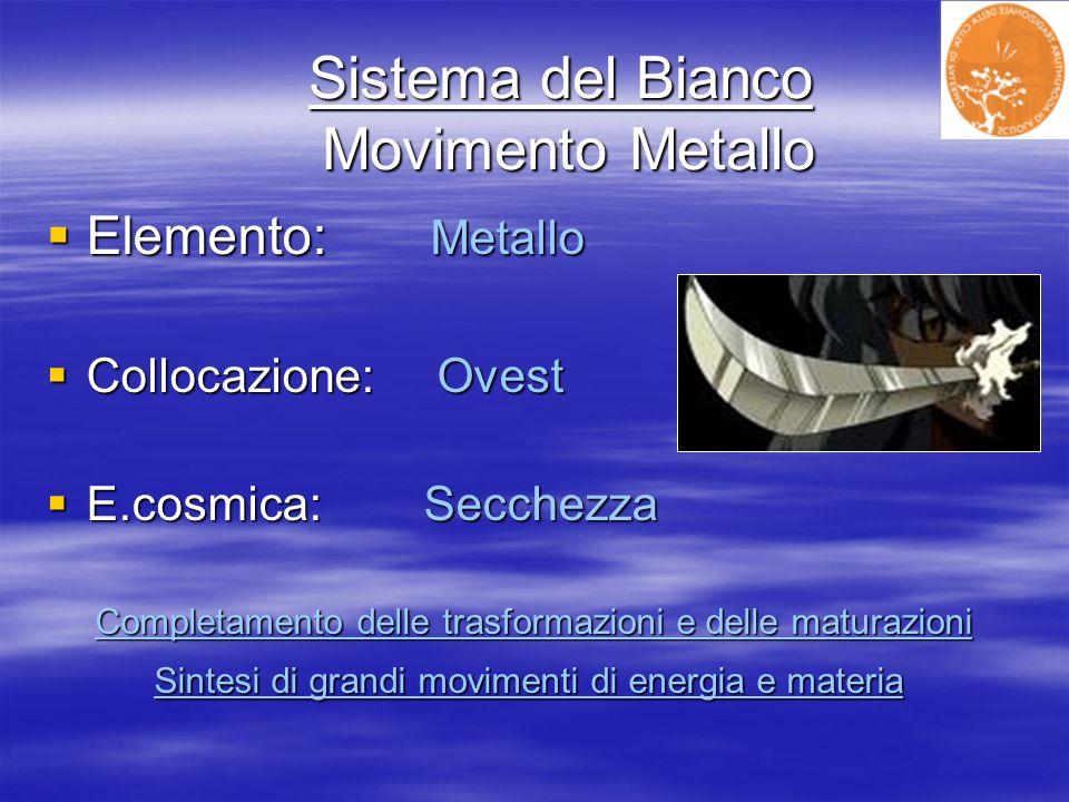 Sistema del Bianco Movimento Metallo Sistema del Bianco Movimento Metallo Elemento: Metallo Elemento: Metallo Collocazione: Ovest Collocazione: Ovest