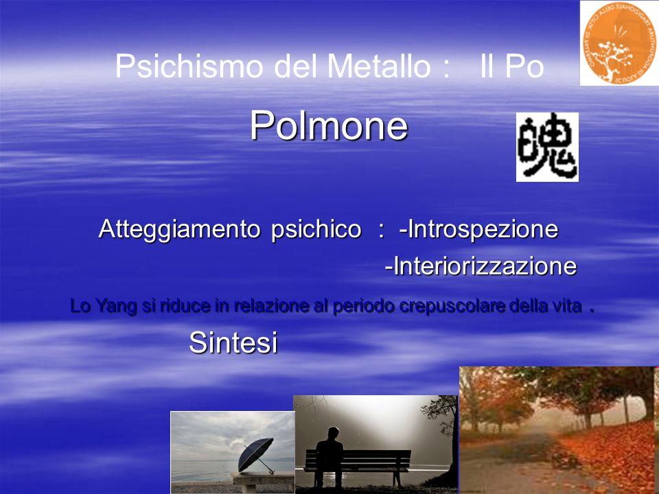 Psichismo del Metallo : Il PoPolmone Atteggiamento psichico : -Introspezione -Interiorizzazione -Interiorizzazione Lo Yang si riduce in relazione al p