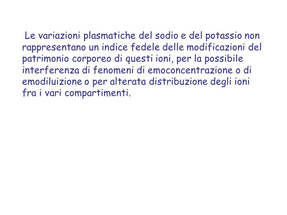 Le variazioni plasmatiche del sodio e del potassio non rappresentano un indice fedele delle modificazioni del patrimonio corporeo di questi ioni, per