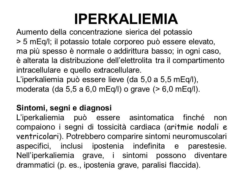 IPERKALIEMIA Aumento della concentrazione sierica del potassio > 5 mEq/l; il potassio totale corporeo può essere elevato, ma più spesso è normale o ad