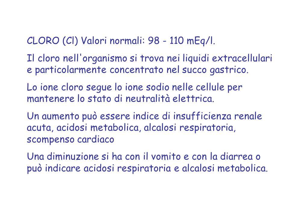 CLORO (Cl) Valori normali: 98 - 110 mEq/l. Il cloro nell'organismo si trova nei liquidi extracellulari e particolarmente concentrato nel succo gastric
