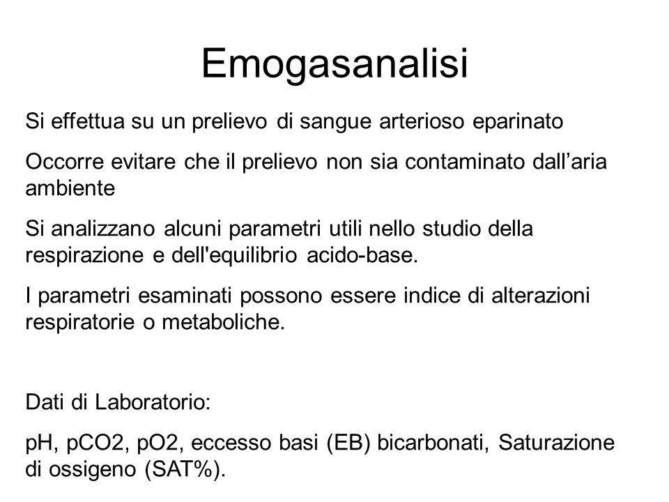 EMOGASANALISI parametriunitàarteriosavenosacapillare pH7,38 - 7,427,36 - 7,407,38 - 7,42 pO2mmHg80 - 10035 - 45>80 SatO2%95 - 9755 - 7095 - 97 pCO2mmHg37 - 4345 - 5040 HCO3-mmol/l21 - 2924 - 3021 - 29 BEmmol/l-2 +2