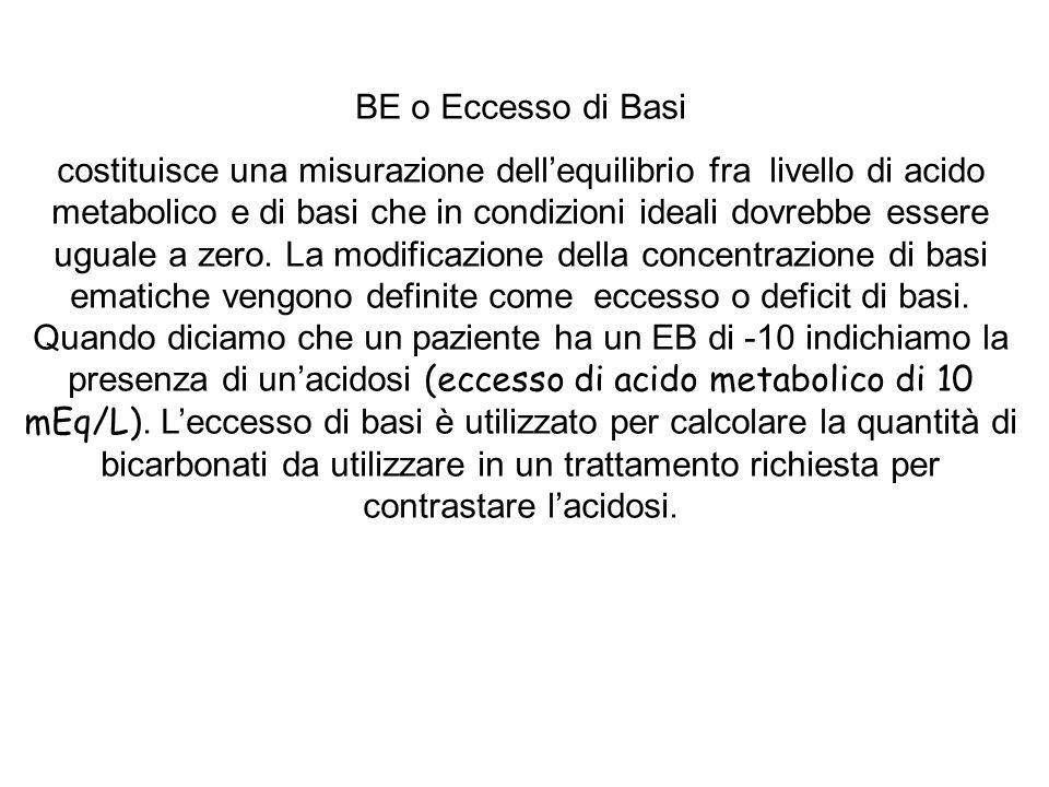 BE o Eccesso di Basi costituisce una misurazione dellequilibrio fra livello di acido metabolico e di basi che in condizioni ideali dovrebbe essere ugu