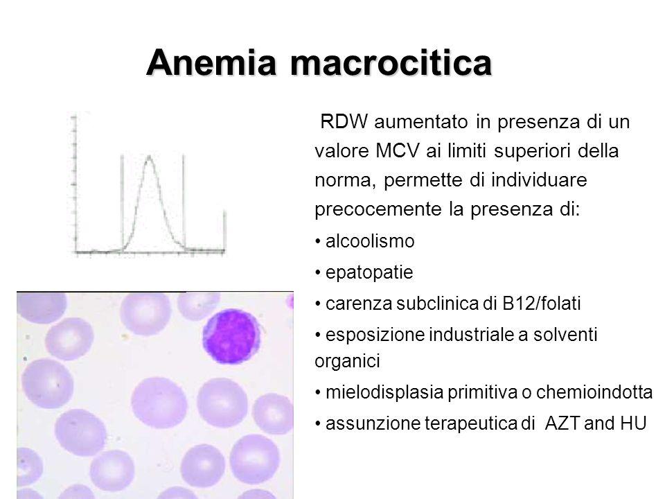 Anemia macrocitica RDW aumentato in presenza di un valore MCV ai limiti superiori della norma, permette di individuare precocemente la presenza di: al