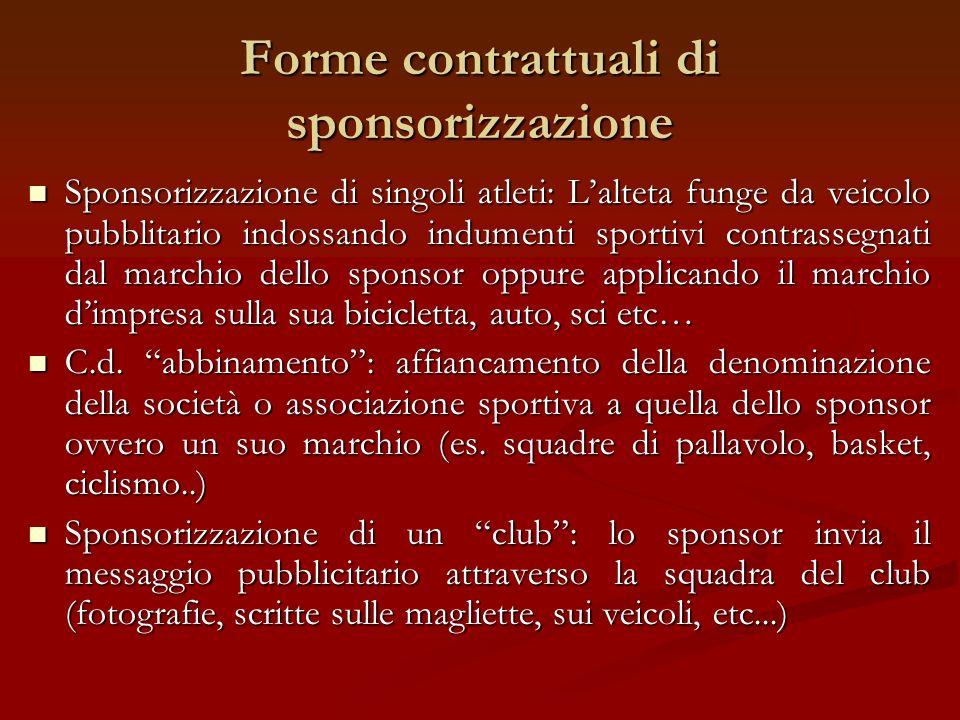 Forme contrattuali di sponsorizzazione Sponsorizzazione di singoli atleti: Lalteta funge da veicolo pubblitario indossando indumenti sportivi contrass