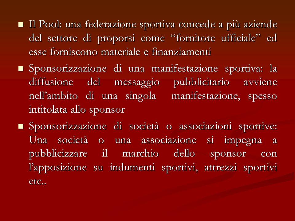 Il Pool: una federazione sportiva concede a più aziende del settore di proporsi come fornitore ufficiale ed esse forniscono materiale e finanziamenti