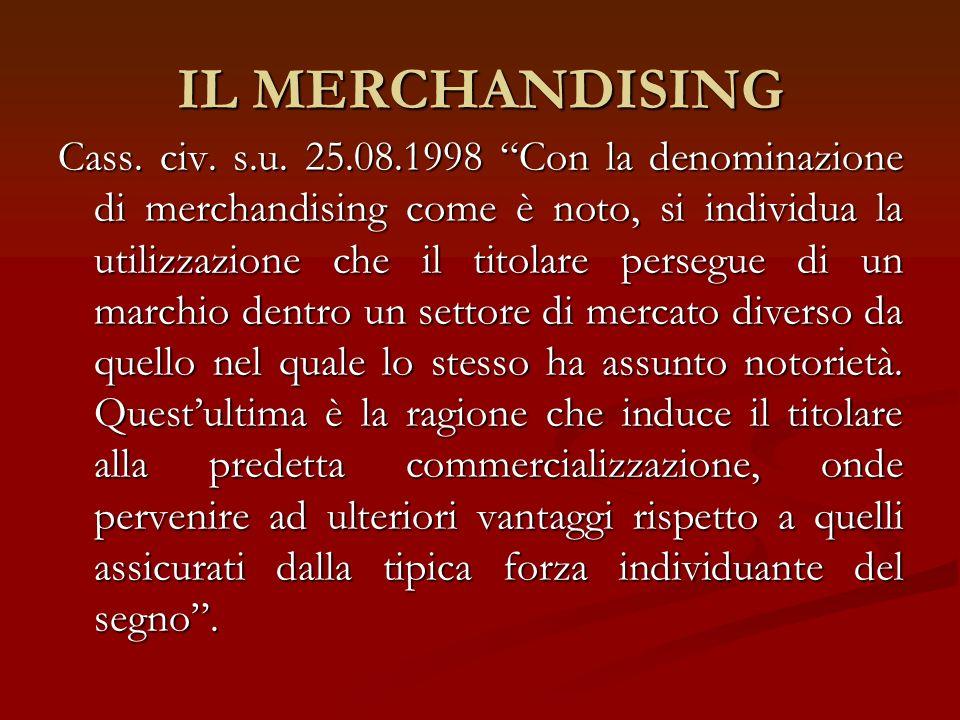 IL MERCHANDISING Cass. civ. s.u. 25.08.1998 Con la denominazione di merchandising come è noto, si individua la utilizzazione che il titolare persegue