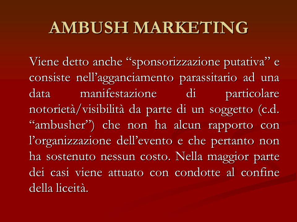 AMBUSH MARKETING Viene detto anche sponsorizzazione putativa e consiste nellagganciamento parassitario ad una data manifestazione di particolare notor