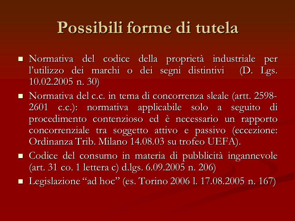 Possibili forme di tutela Normativa del codice della proprietà industriale per lutilizzo dei marchi o dei segni distintivi (D. Lgs. 10.02.2005 n. 30)