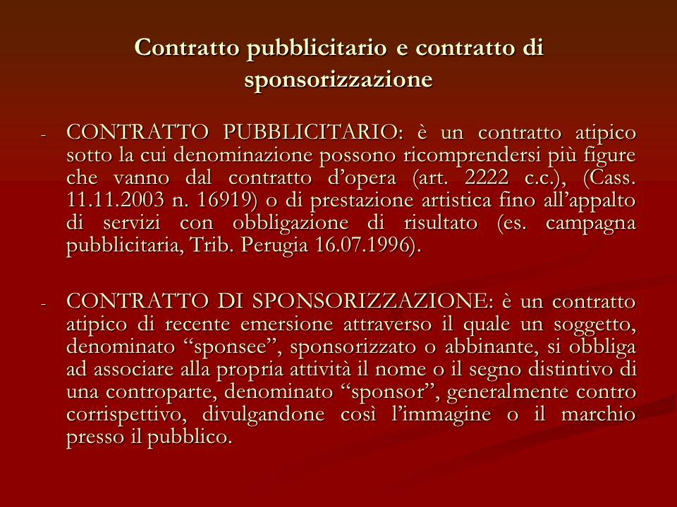 CARATTERISTICHE DELLA PUBBLICITA E DELLA SPONSORIZZAZIONE PUBBLICITA Occasionalita rispetto allevento sportivo LATTIVITA PROMOZIONALE AVVIENE SOLITAMENTE ATTRAVERSO CARTELLI O PUBBLICAZIONI SPONSORIZZAZIONE Rapporto di stretta connessione tra levento sportivo e la promozione LATTIVITA PROMOZIONALE AVVIENE TRAMITE LABBIGLIAMENTO O CON MODIFICA DELLA DENOMINAZIONE