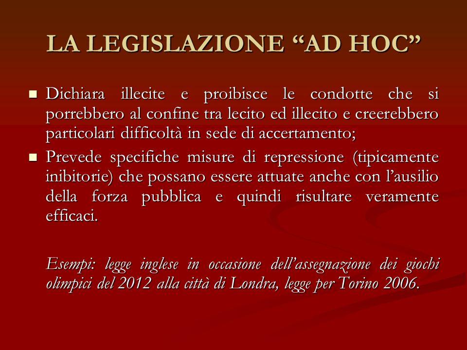 LA LEGISLAZIONE AD HOC Dichiara illecite e proibisce le condotte che si porrebbero al confine tra lecito ed illecito e creerebbero particolari diffico