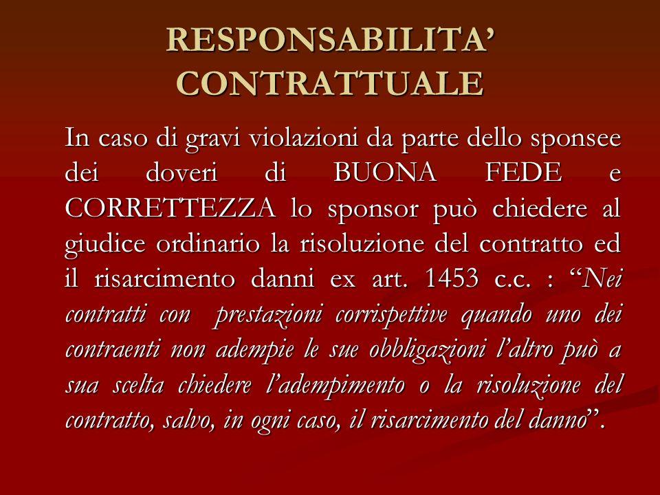 RESPONSABILITA CONTRATTUALE In caso di gravi violazioni da parte dello sponsee dei doveri di BUONA FEDE e CORRETTEZZA lo sponsor può chiedere al giudi
