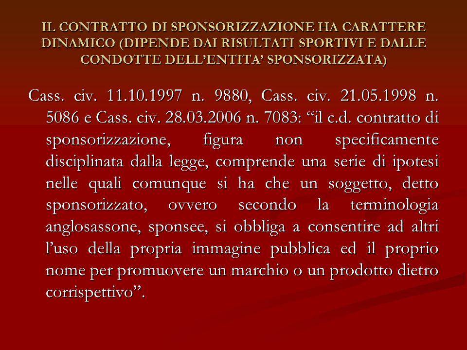 IL CONTRATTO DI SPONSORIZZAZIONE HA CARATTERE DINAMICO (DIPENDE DAI RISULTATI SPORTIVI E DALLE CONDOTTE DELLENTITA SPONSORIZZATA) Cass. civ. 11.10.199