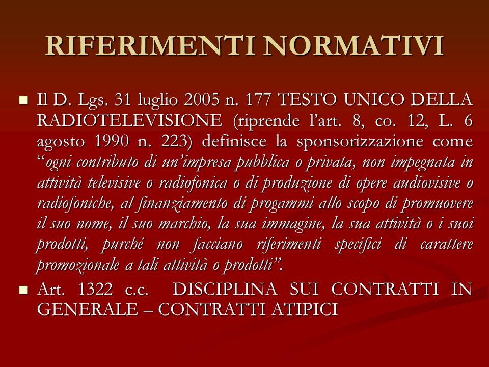 RIFERIMENTI NORMATIVI Il D. Lgs. 31 luglio 2005 n. 177 TESTO UNICO DELLA RADIOTELEVISIONE (riprende lart. 8, co. 12, L. 6 agosto 1990 n. 223) definisc