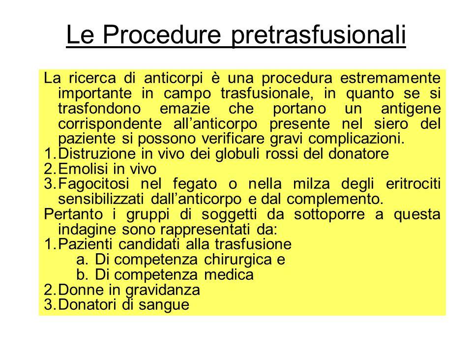 Le Procedure pretrasfusionali La ricerca di anticorpi è una procedura estremamente importante in campo trasfusionale, in quanto se si trasfondono emaz