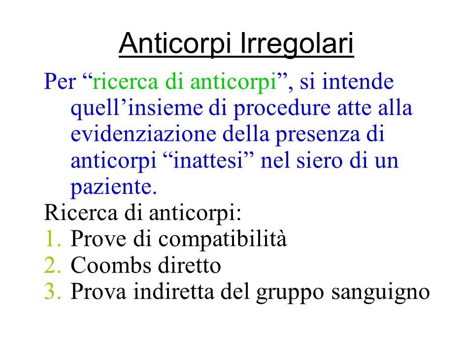 Anticorpi Irregolari Per ricerca di anticorpi, si intende quellinsieme di procedure atte alla evidenziazione della presenza di anticorpi inattesi nel