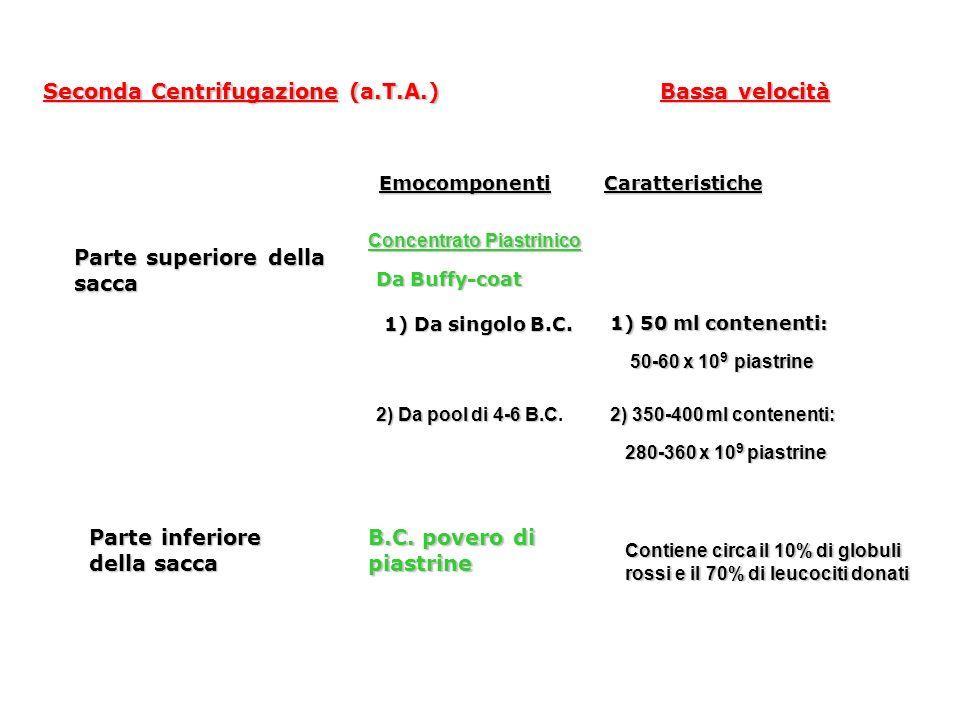 Seconda Centrifugazione (a.T.A.) Seconda Centrifugazione (a.T.A.) Bassa velocità Parte superiore della sacca Emocomponenti Caratteristiche Concentrato