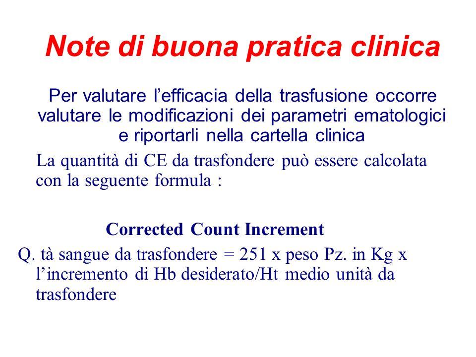 Note di buona pratica clinica Per valutare lefficacia della trasfusione occorre valutare le modificazioni dei parametri ematologici e riportarli nella