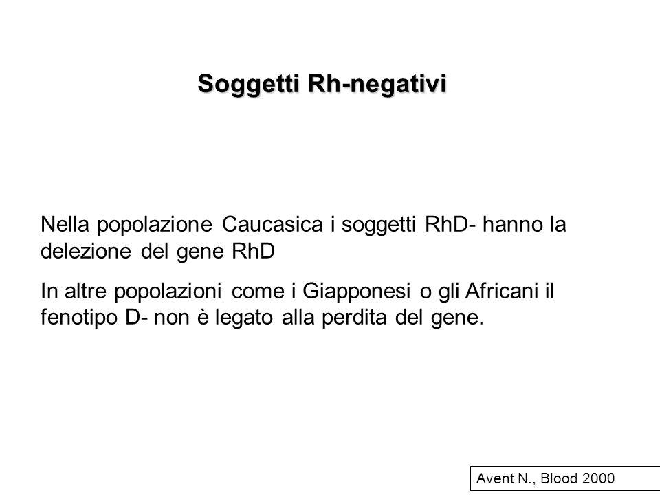 Soggetti Rh-negativi Nella popolazione Caucasica i soggetti RhD- hanno la delezione del gene RhD In altre popolazioni come i Giapponesi o gli Africani