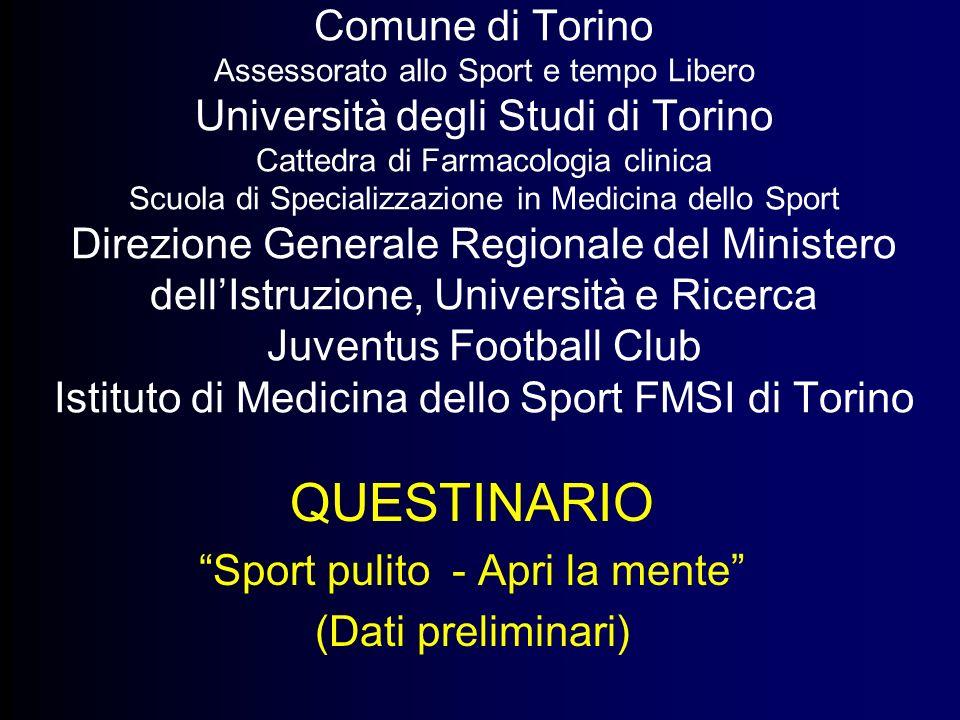 Comune di Torino Assessorato allo Sport e tempo Libero Università degli Studi di Torino Cattedra di Farmacologia clinica Scuola di Specializzazione in
