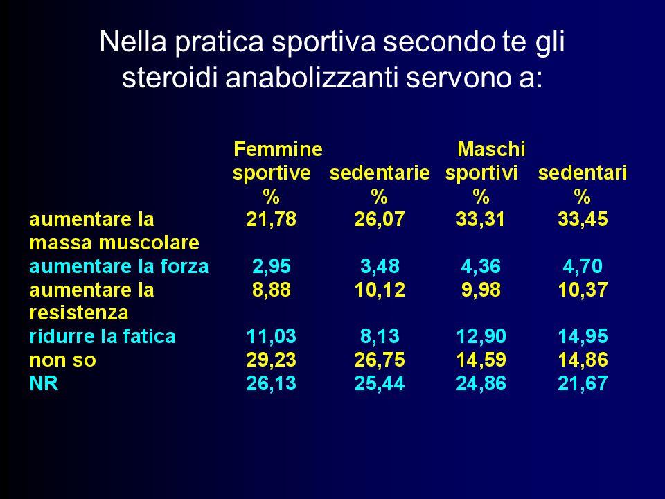 Nella pratica sportiva secondo te gli steroidi anabolizzanti servono a: