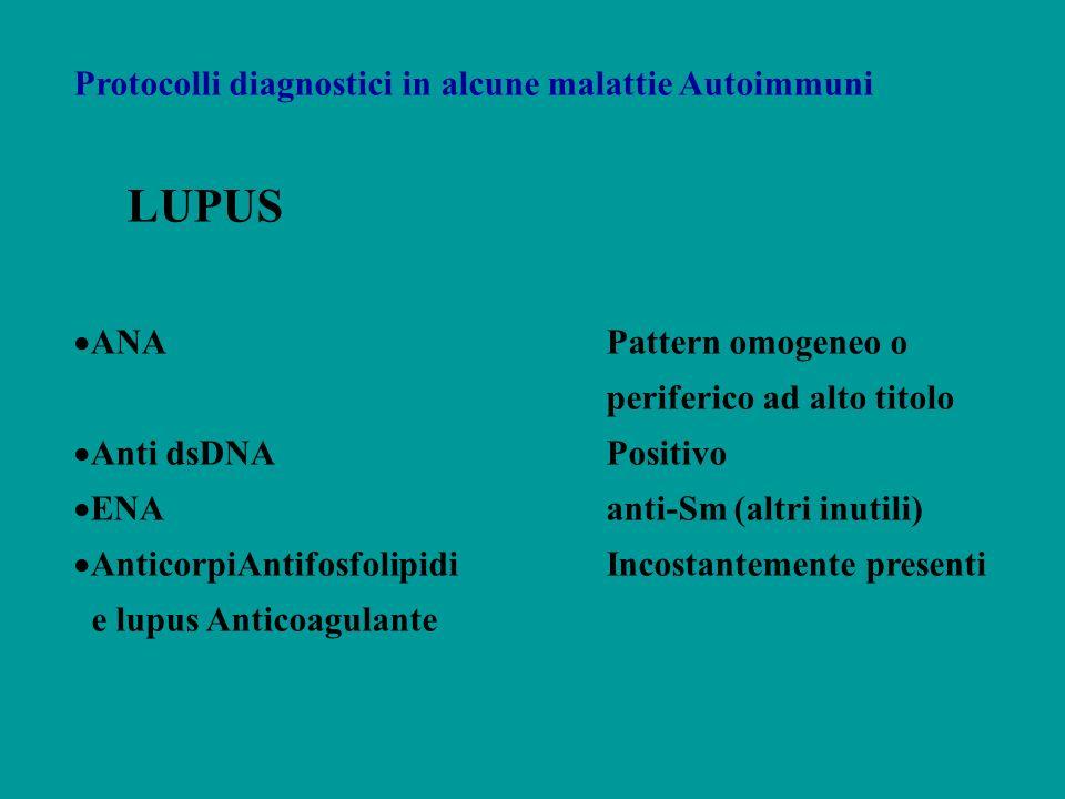 Protocolli diagnostici in alcune malattie Autoimmuni LUPUS ANAPattern omogeneo o periferico ad alto titolo Anti dsDNAPositivo ENAanti-Sm (altri inutil