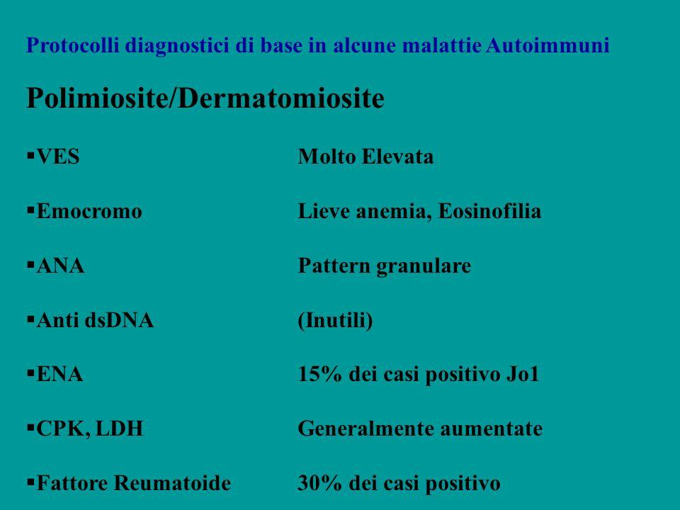 Protocolli diagnostici di base in alcune malattie Autoimmuni Polimiosite/Dermatomiosite VESMolto Elevata EmocromoLieve anemia, Eosinofilia ANAPattern