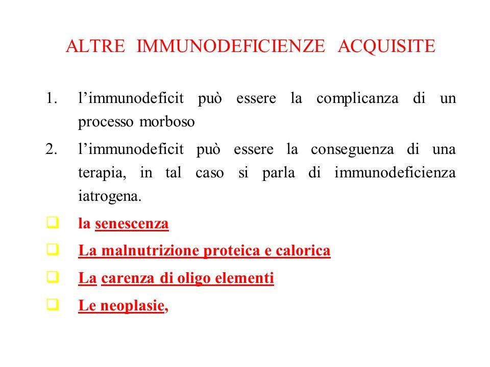 ALTRE IMMUNODEFICIENZE ACQUISITE 1.limmunodeficit può essere la complicanza di un processo morboso 2.limmunodeficit può essere la conseguenza di una t