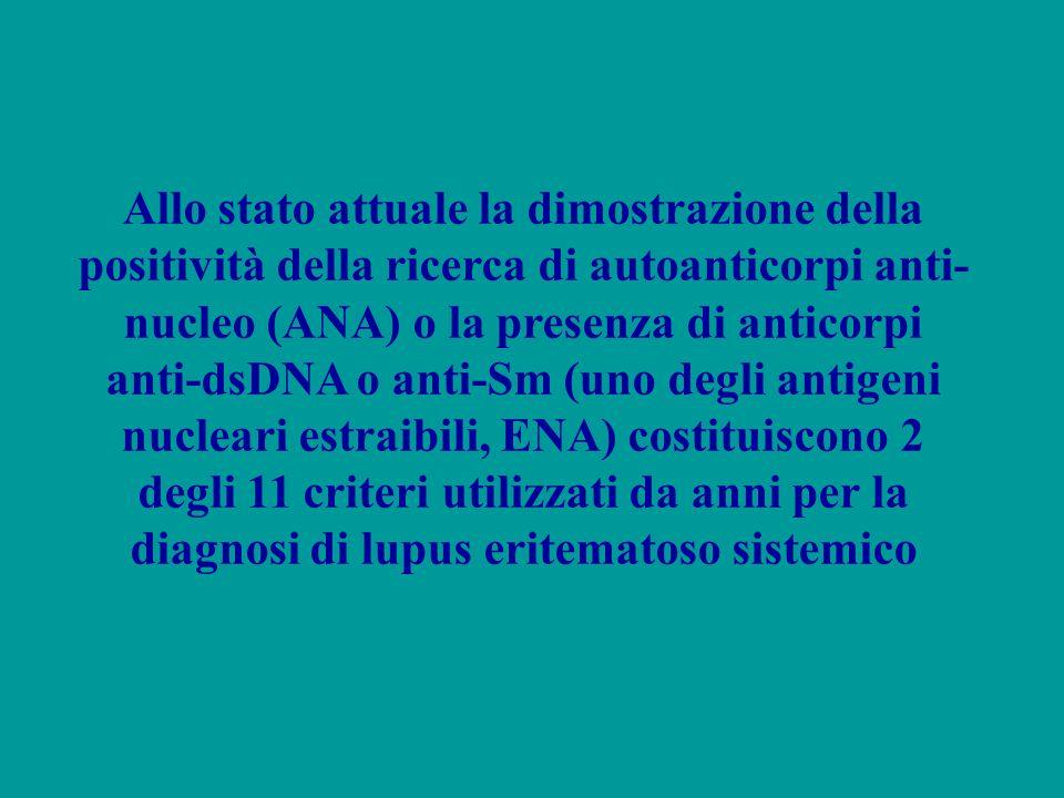 Allo stato attuale la dimostrazione della positività della ricerca di autoanticorpi anti- nucleo (ANA) o la presenza di anticorpi anti-dsDNA o anti-Sm