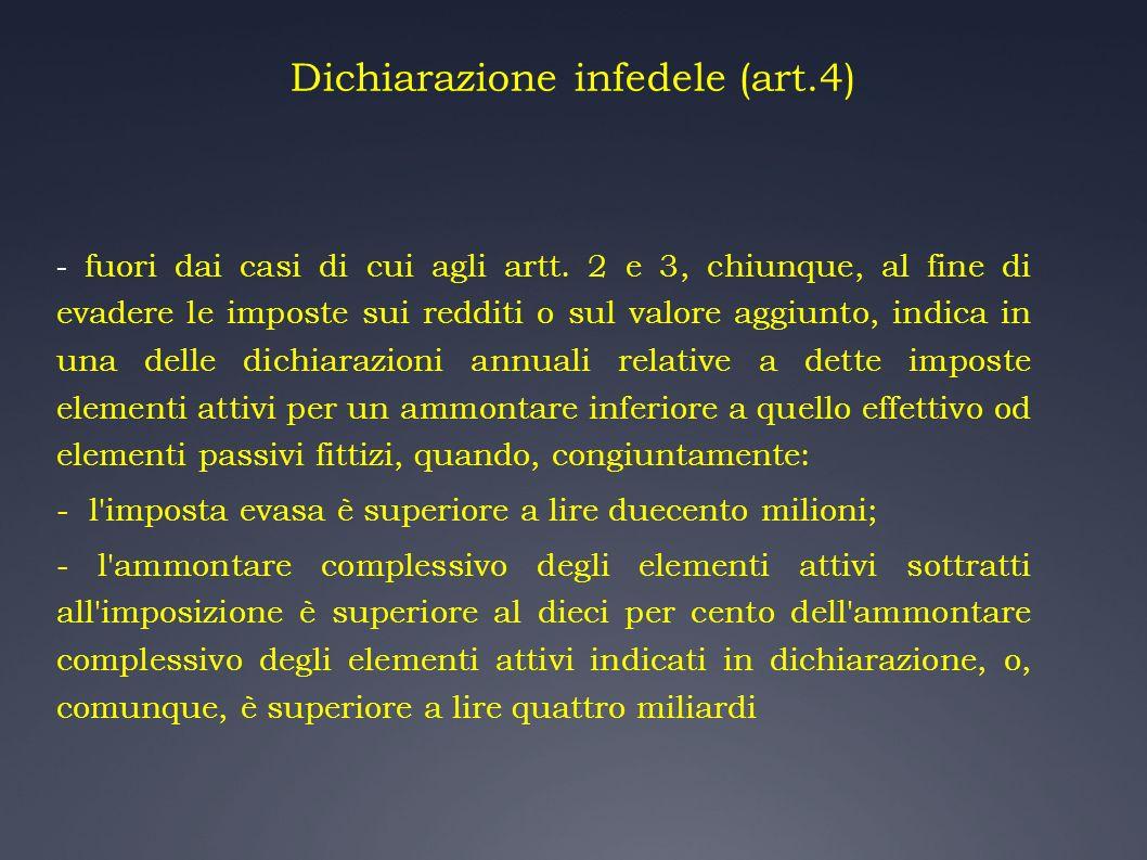 Dichiarazione infedele (art.4) - fuori dai casi di cui agli artt. 2 e 3, chiunque, al fine di evadere le imposte sui redditi o sul valore aggiunto, in