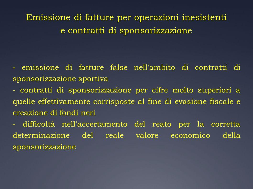 Emissione di fatture per operazioni inesistenti e contratti di sponsorizzazione - emissione di fatture false nell'ambito di contratti di sponsorizzazi
