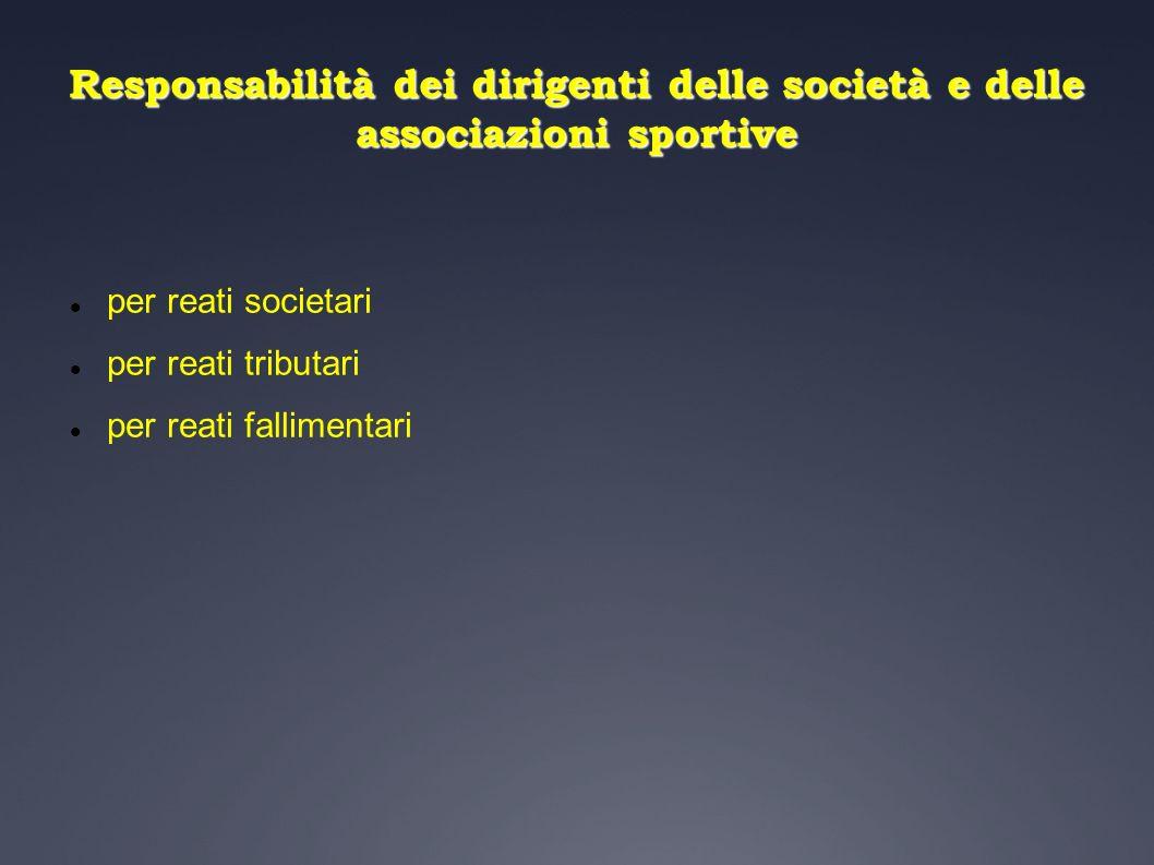 La responsabilità per reati societari Società di capitali Sport professionistico Distribuzione utili ai soci con riserva del 10% Quotazione in Borsa Sport dilettantistico