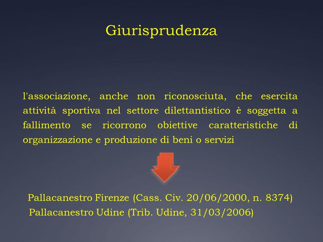 Giurisprudenza l'associazione, anche non riconosciuta, che esercita attività sportiva nel settore dilettantistico è soggetta a fallimento se ricorrono