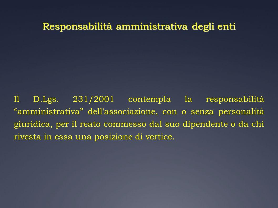 Responsabilità amministrativa degli enti Il D.Lgs. 231/2001 contempla la responsabilità amministrativa dell'associazione, con o senza personalità giur