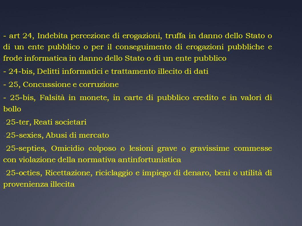 - art 24, Indebita percezione di erogazioni, truffa in danno dello Stato o di un ente pubblico o per il conseguimento di erogazioni pubbliche e frode