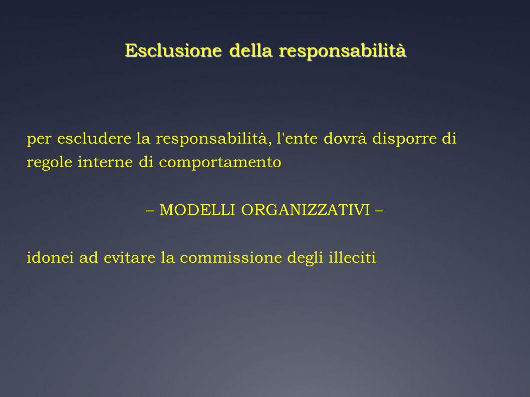 Esclusione della responsabilità per escludere la responsabilità, l'ente dovrà disporre di regole interne di comportamento – MODELLI ORGANIZZATIVI – id