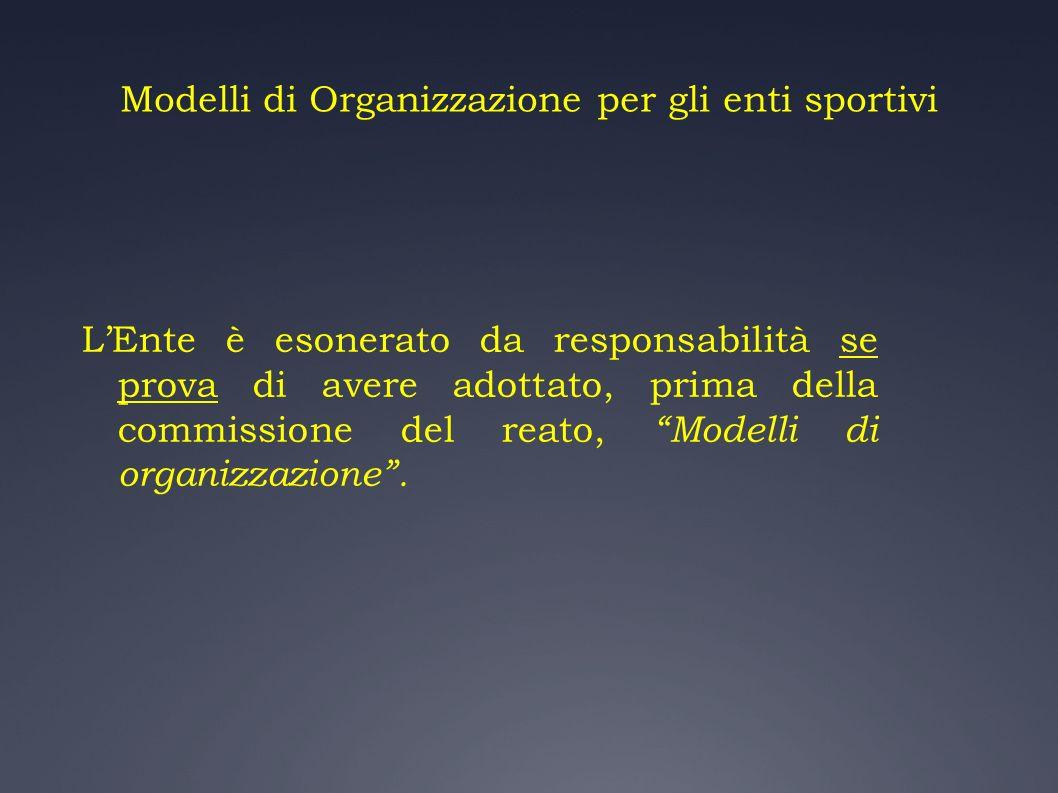 Modelli di Organizzazione per gli enti sportivi LEnte è esonerato da responsabilità se prova di avere adottato, prima della commissione del reato, Mod
