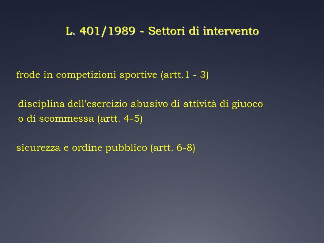 L. 401/1989 - Settori di intervento frode in competizioni sportive (artt.1 - 3) - disciplina dell'esercizio abusivo di attività di giuoco - o di scomm