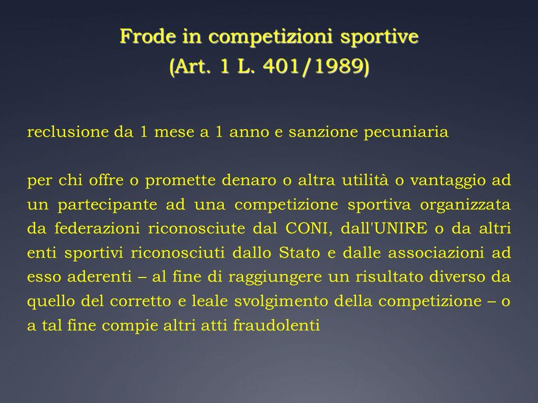Frode in competizioni sportive (Art. 1 L. 401/1989) reclusione da 1 mese a 1 anno e sanzione pecuniaria per chi offre o promette denaro o altra utilit