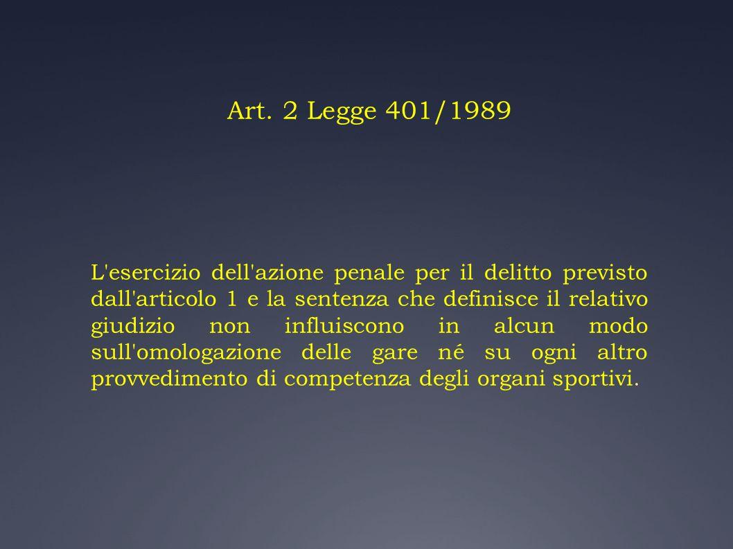 Art. 2 Legge 401/1989 L'esercizio dell'azione penale per il delitto previsto dall'articolo 1 e la sentenza che definisce il relativo giudizio non infl