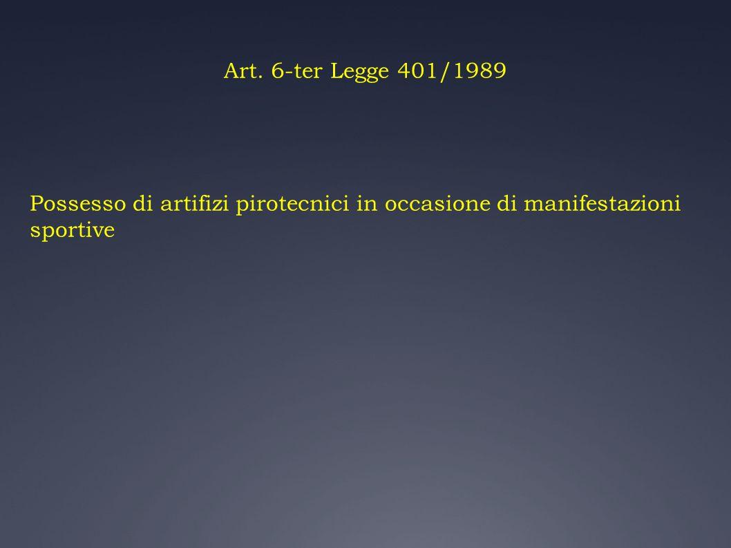 Art. 6-ter Legge 401/1989 Possesso di artifizi pirotecnici in occasione di manifestazioni sportive