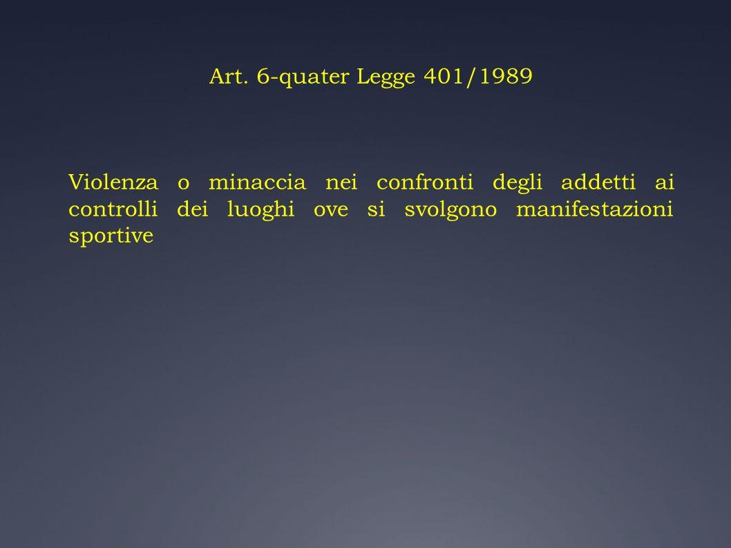 Art. 6-quater Legge 401/1989 Violenza o minaccia nei confronti degli addetti ai controlli dei luoghi ove si svolgono manifestazioni sportive