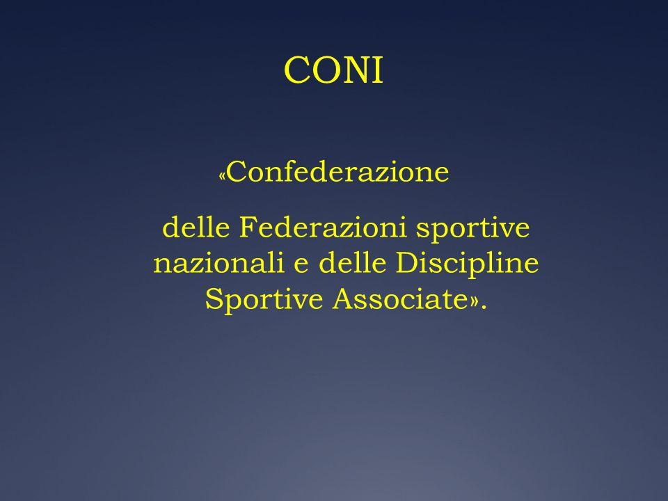 CONI « Confederazione delle Federazioni sportive nazionali e delle Discipline Sportive Associate».