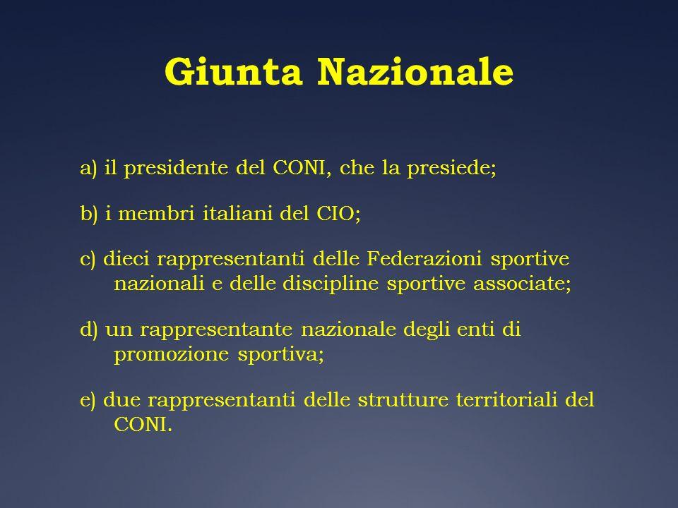 Giunta Nazionale a) il presidente del CONI, che la presiede; b) i membri italiani del CIO; c) dieci rappresentanti delle Federazioni sportive nazional